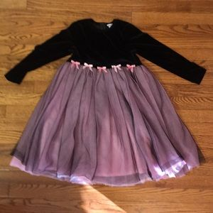 Hartstrings holiday dress 6X pink & black velour